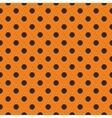 tile black polka dots on orange background vector image vector image