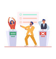 tv quiz show host and two participants happy vector image vector image