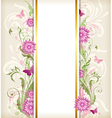 Vintage floral background with pink flowers vector image vector image