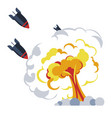 war bomb explosion flame mushroom rockets or vector image