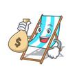 with money bag beach chair character cartoon vector image