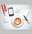 work place cappuccino realistic vector image