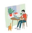 young man has a breakfast at home reading news vector image vector image