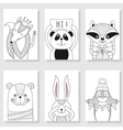 Wild funny animals children Greeting card vector image