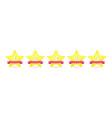 5 gold star with ribbon icon set award vector image