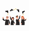 a group of graduates toss their caps vector image