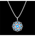 a silver pendant on a chain with a precious stone vector image vector image