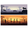african landscape with people and animals vector image