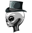 alien head monochrome isolated on white background vector image vector image
