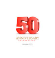 anniversary 50 red 3d numbers vector image vector image