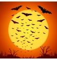 Black bats silhouettes on big yellow moon at vector image