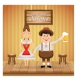 cartoon man woman oktoberfest icon graphic vector image vector image
