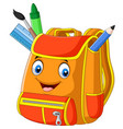 cartoon school backpack on white background vector image vector image