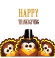 Cartoon turkeys in a pilgrim hat vector image vector image