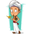 Cartoon young Aladdin with gold lamp vector image vector image