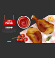 chicken wings realistic fresh organic meat vector image vector image