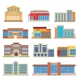 Commercial buildings architecture flat vector image
