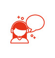 communication bubble and woman icon line design vector image