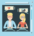 couple with laptop social media icons vector image vector image