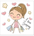 Cute girl with bags vector image vector image