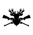 deer head silhouette and two crossed rifles vector image vector image