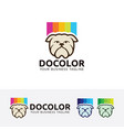 dog color logo design vector image vector image