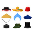 flat set of various national headdress vector image vector image