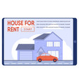 flat text banner proposing modern house for rent vector image vector image