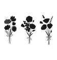 floral bouquets set flower silhouettes vector image
