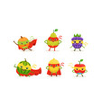 fruit and berry superheros rushing to rescue vector image vector image