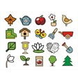 gardening doodle icons set vector image