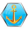 golden anchor on button vector image vector image