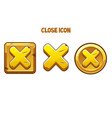 golden icons close with a cross for interface vector image vector image