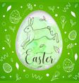 green easter card with rabbit vector image vector image