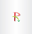 green red letter r logo arrow element vector image