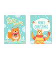hello winter christmas set vector image vector image