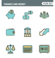 Icons line set premium quality of finance objects vector image
