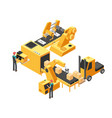 industrial manufacturing conveyor line with vector image vector image
