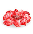 Isolated handful of red rubies vector image vector image