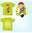 kid shirt with hockey player printed - back and vector image