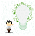 Light bulb idea with creative drawing environment vector image vector image
