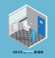 man toilet sign in restroom isometric vector image vector image
