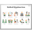medical situations icons flat pack vector image