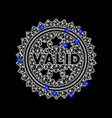 mesh valid stamp icon with blue diamonds vector image