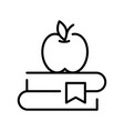 monochrome apple and book stack science concept vector image vector image