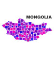 mosaic mongolia map of square elements vector image vector image