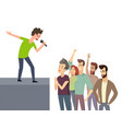 music character performing for crowd of fan people vector image