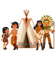 native american indians standing by the teepee vector image vector image