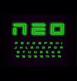 neo geometric letters set green futuristic font vector image
