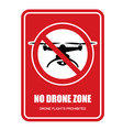 No drone zone restrictive sign - quadcopter vector image vector image